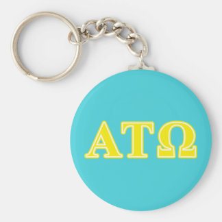 Alpha Tau Omega Yellow Letters Basic Round Button Keychain