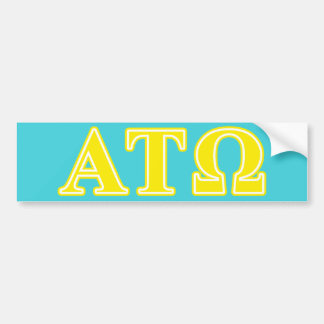 Alpha Tau Omega Yellow Letters Bumper Sticker