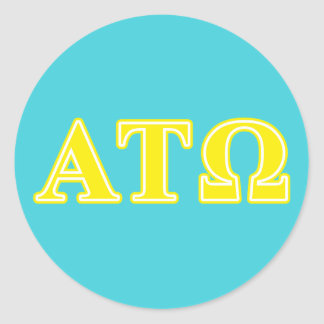 Alpha Tau Omega Yellow Letters Classic Round Sticker