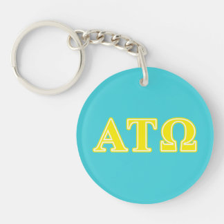 Alpha Tau Omega Yellow Letters Double-Sided Round Acrylic Keychain