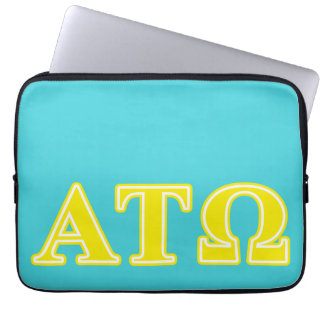 Alpha Tau Omega Yellow Letters Laptop Computer Sleeve