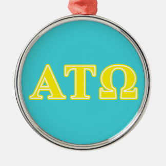 Alpha Tau Omega Yellow Letters Round Metal Christmas Ornament