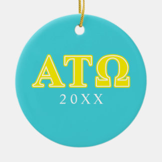 Alpha Tau Omega Yellow Letters Double-Sided Ceramic Round Christmas Ornament