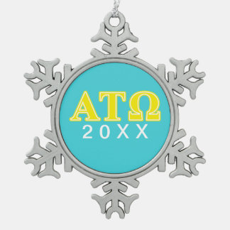 Alpha Tau Omega Yellow Letters Snowflake Pewter Christmas Ornament