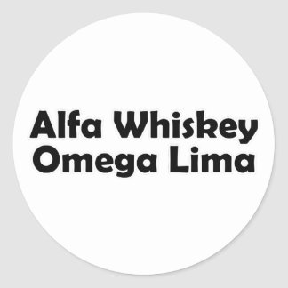 Alpha Whiskey omega Lima AWOL Classic Round Sticker