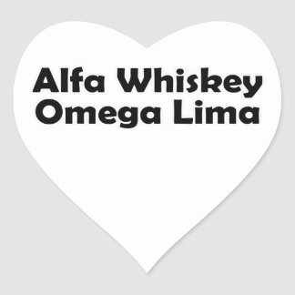 Alpha Whiskey omega Lima AWOL Heart Sticker