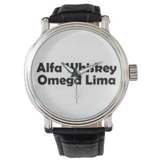 Alpha Whiskey omega Lima AWOL Wristwatch