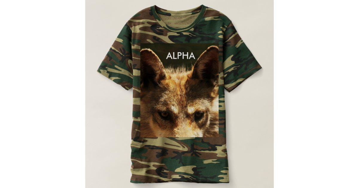 alpha wolf camouflage t shirt zazzle. Black Bedroom Furniture Sets. Home Design Ideas