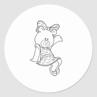 Alpha Xi Delta Bear Classic Round Sticker