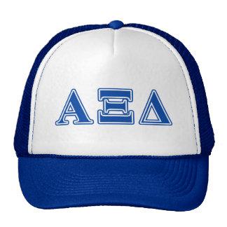 alpha xi delta blue letters trucker hat
