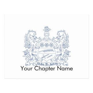 Alpha Xi Delta Crest Blue Postcard