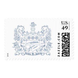 Alpha Xi Delta Crest Blue Stamp