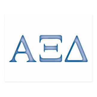 alpha xi delta letters postcard