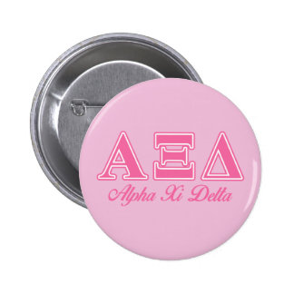 Alpha Xi Delta Pink Letters Button