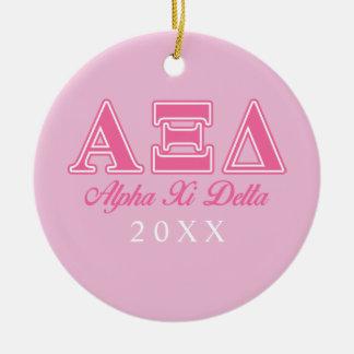 Alpha Xi Delta Pink Letters Ceramic Ornament