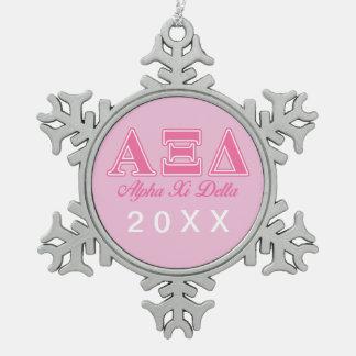 Alpha Xi Delta Pink Letters Ornament