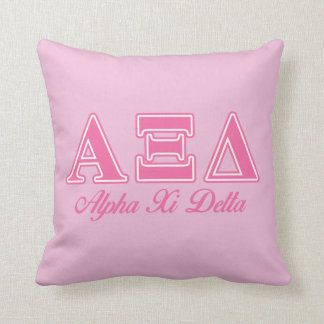 Alpha Xi Delta Pink Letters Throw Pillows