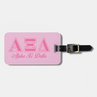 Alpha Xi Delta Pink Letters Travel Bag Tag
