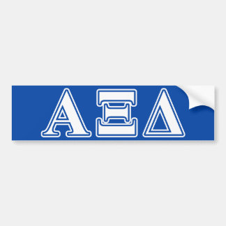 alpha xi delta white and blue letters bumper sticker