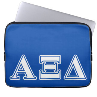 Alpha Xi Delta White and Blue Letters Laptop Sleeves