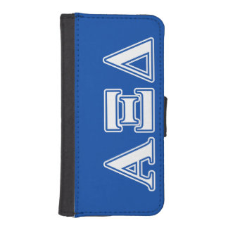 Alpha Xi Delta White and Blue Letters Phone Wallet