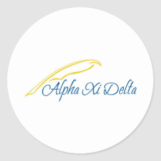 Alpha Xi Delta with Quill Round Stickers