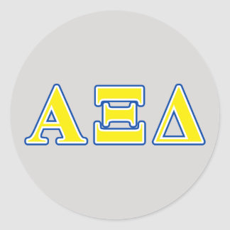 Alpha Xi Delta Yellow and Blue Letters Classic Round Sticker