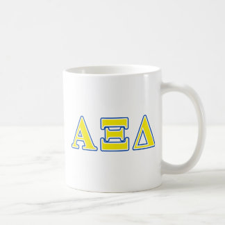 Alpha Xi Delta Yellow and Blue Letters Coffee Mug