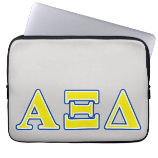Alpha Xi Delta Yellow and Blue Letters Computer Sleeve