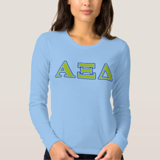 Alpha Xi Delta Yellow and Blue Letters T Shirts