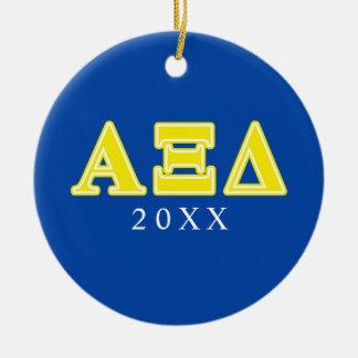 Alpha Xi Delta Yellow Letters Ornament