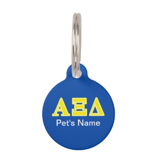 Alpha Xi Delta Yellow Letters Pet Name Tags