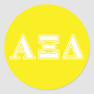 Alpha Xi Detla White and Yellow Letters Classic Round Sticker