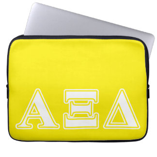 Alpha Xi Detla White and Yellow Letters Laptop Computer Sleeves