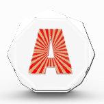 ALPHABET A AAA Gold n Red Sparkle Acrylic Award
