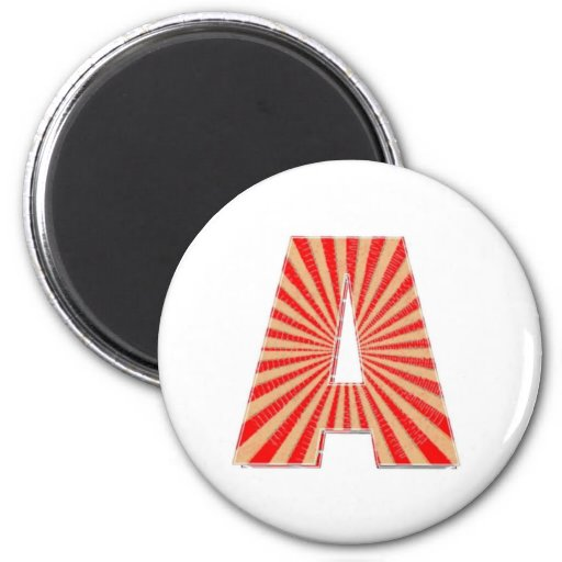 ALPHABET A AAA Gold n Red Sparkle 2 Inch Round Magnet