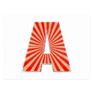 ALPHABET A AAA Gold n Red Sparkle Postcard