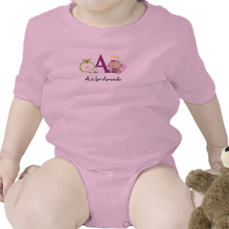 Alphabet A tee for girls - add your name