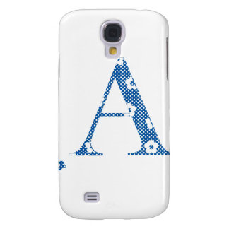 alphabet A with flower pattern (blue) Galaxy S4 Cases