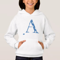 alphabet A with flower pattern (blue) Hoodie