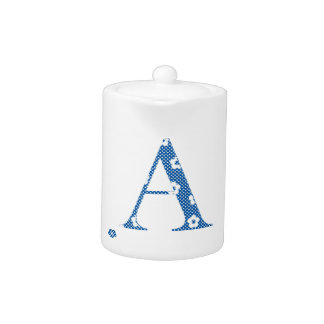 alphabet A with flower pattern (blue) Teapot