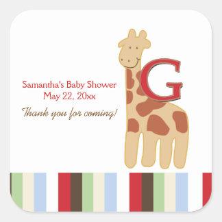 Alphabet ABC Soup (Giraffe) SQUARE Favor Sticker