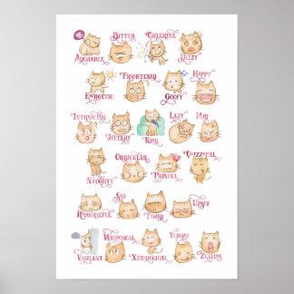 Alphabet Adjective A-Z Cat Poster- 13x19 Poster