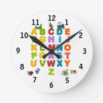Alphabet and Garden Insects (Medium) Wall Clock
