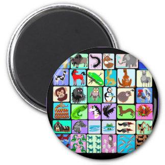 alphabet animals 3 2 inch round magnet