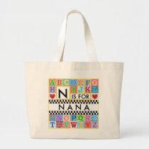 Alphabet Art Nana Large Tote Bag