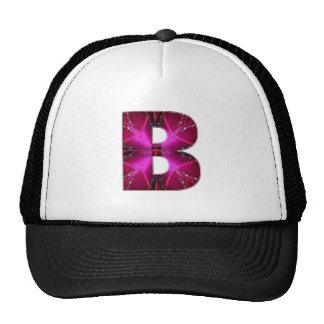 Alphabet B BB BBB  Rose Petal Sparkle Mesh Hats