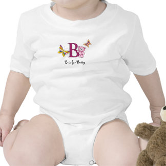 Alphabet B tee for girls - add your name