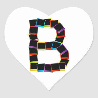 Alphabet B with colorful Heart Sticker