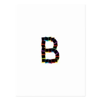 Alphabet B with colorful polaroids Postcard